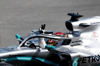 Lewis Hamilton, Mercedes AMG F1 W10 celebrates on the cool down lap
