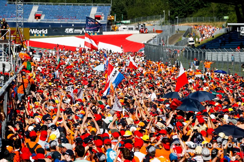 Dutch Max Verstappen fans invade the track to celebrate the victory of Max Verstappen, Red Bull Racing