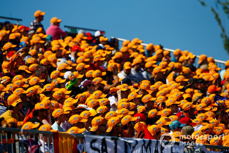 Fans in the Carlos Sainz Jnr grandstand