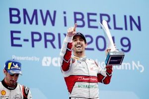 Lucas Di Grassi, Audi Sport ABT Schaeffler, celebrates on the podium with Sébastien Buemi, Nissan e.Dams