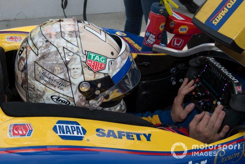 Alexander Rossi, Andretti Autosport Honda con un casco de Steve McQueen