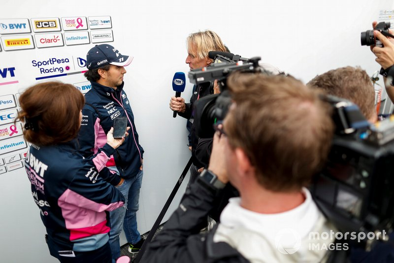 Sergio Perez, Racing Point speaks with the media