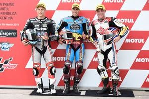 Polesitter Xavi Vierge, Marc VDS Racing, second place Marcel Schrotter, Intact GP, third place Sam Lowes, Gresini Racing
