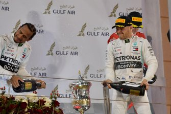 Lewis Hamilton, Mercedes AMG F1, 1st position, and Valtteri Bottas, Mercedes AMG F1, 2nd position, on the podium