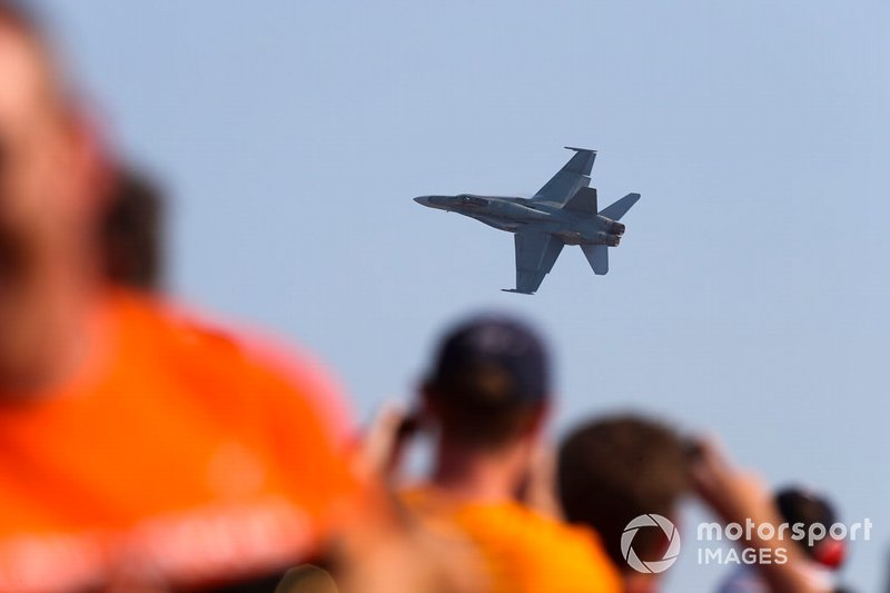 An F/A-18C Hornet of the Royal Australian Air Force displays for the crowd