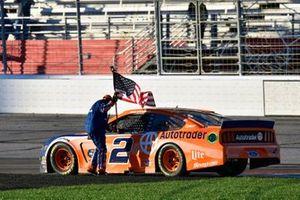 Brad Keselowski, Team Penske, Ford Mustang celebrates his win