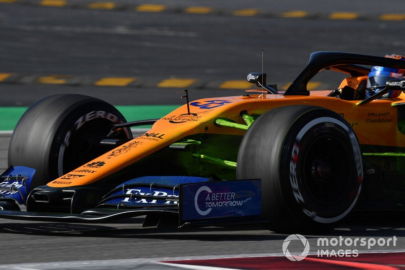 McLaren MCL34 with aero paint on front suspension