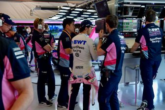 Sergio Perez, Racing Point, in the garage