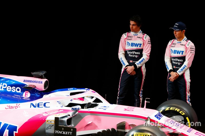Sergio Perez, Racing Point, Lance Stroll, Racing Point at the livery launch