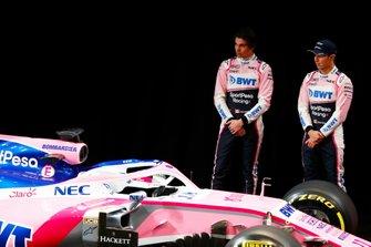 Sergio Perez, Racing Point, Lance Stroll, Racing Point, lors de la présentation de la livrée
