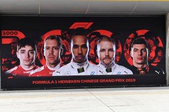 Charles Leclerc, Ferrari, Sebastian Vettel, Ferrari, Lewis Hamilton, Mercedes AMG F1, Valtteri Bottas, Mercedes AMG F1, en Max Verstappen, Red Bull Racing