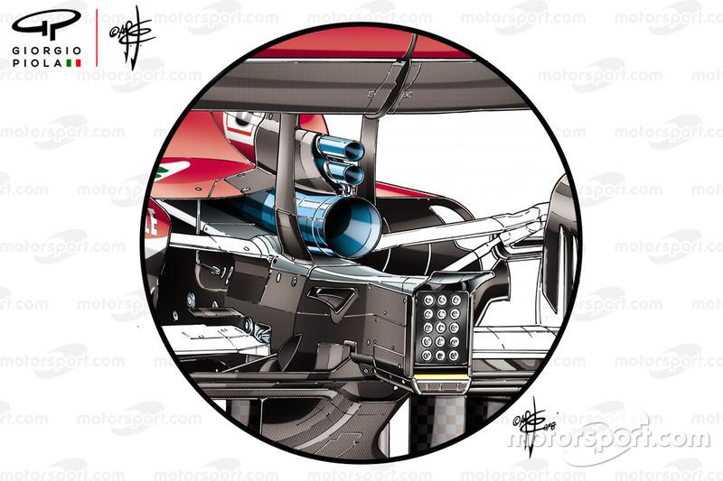 Ferrari SF71H, nuovo scarico