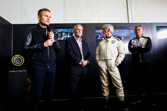 Chase Carey, Chairman, Formula 1, Damon Hill and Mario Isola, Racing Manager, Pirelli Motorsport, at the presentation of the official F1 1000 poster