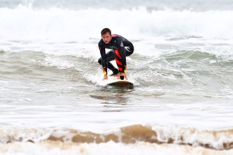 Pierre Gasly surfing in Torquay