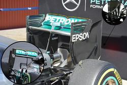 Mercedes AMG F1 W07, Heckflügel-Detail