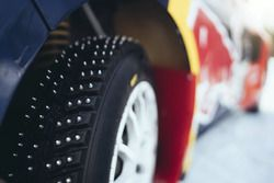 Detail shot of the spiked tires of Peugeot 206 WRX