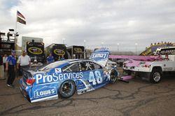 Das Auto von Jimmie Johnson, Hendrick Motorsports Chevrolet nach dem Crash