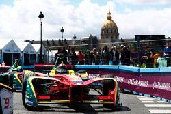 Daniel Abt, ABT Schaeffler Audi Sport, leads Lucas di Grassi, ABT Schaeffler Audi Sport, in the pits