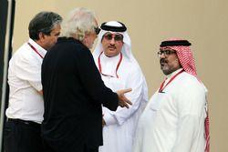 Pasquale Lattuneddu, of the FOM with Flavio Briatore; Sheikh Mohammed bin Essa Al Khalifa, CEO of the Bahrain Economic Development Board and McLaren Shareholder; and Muhammed Al Khalifa, Bahrain Circuit Chairman