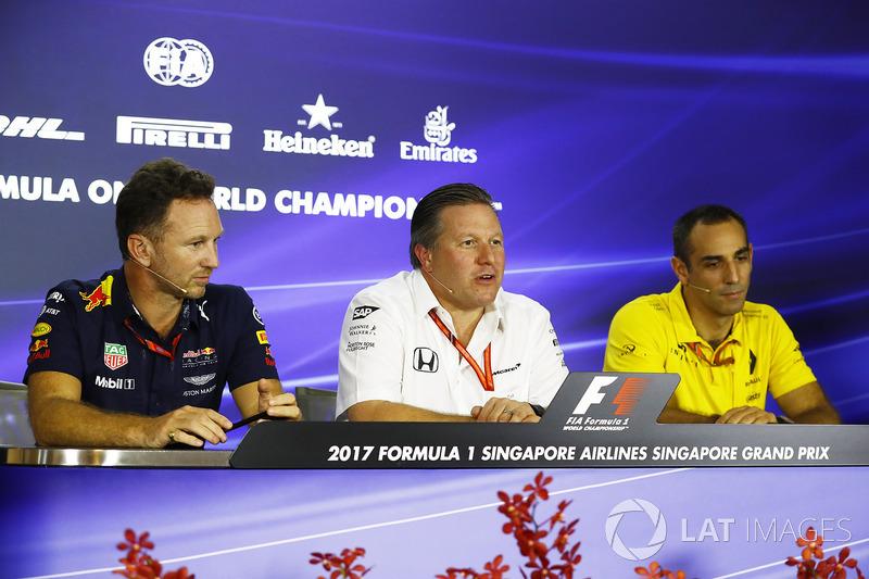 Christian Horner, Red-Bull-Teamchef, Zak Brown, McLaren-Chef, Cyril Abiteboul, Renault Sport F1, Geschäftsführer