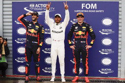 Polesitter Lewis Hamilton, Mercedes AMG F1, second place Max Verstappen, Red Bull Racing, third plac