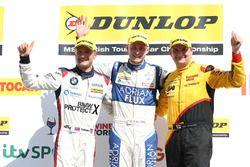 Podum: race winner Ashley Sutton, Team BMR Subaru Levorg, second place Mat Jackson, Motorbase Performance Ford Focus, third place Colin Turkington, West Surrey Racing BMW 125i M Sport