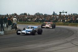Jackie Stewart, Matra MS80 Ford, leads Jochen Rindt, Lotus 49B Ford