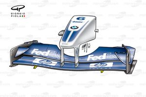 Williams FW24 front wing, L shaped strakes added under the wing
