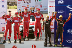 Podium 2016 champion: winners Gaurav Gill, Glenn MacNeall, Team MRF, second place Fabian Kreim, Frank Christian, Team MRF, third place Mike Young, Malcolm Read, Cusco Racing