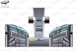 Mercedes W05 front wing and nose