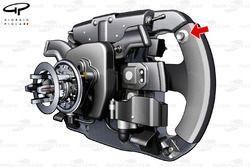 Ferrari F2012 steering wheel 3/4 view, DRS button arrowed