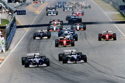 Damon Hill, Williams FW17B Renault and David Coulthard, Williams FW17B Renault are leading at the start