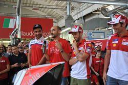 Danilo Petrucci, Pramac, Claudio Domenicali, AD Ducati, Andrea Dovizioso, Ducati, MIchele Pirro, collaudatore Ducati