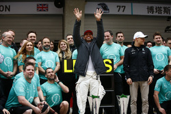 Lewis Hamilton, Mercedes AMG, celebrates with his team after the race