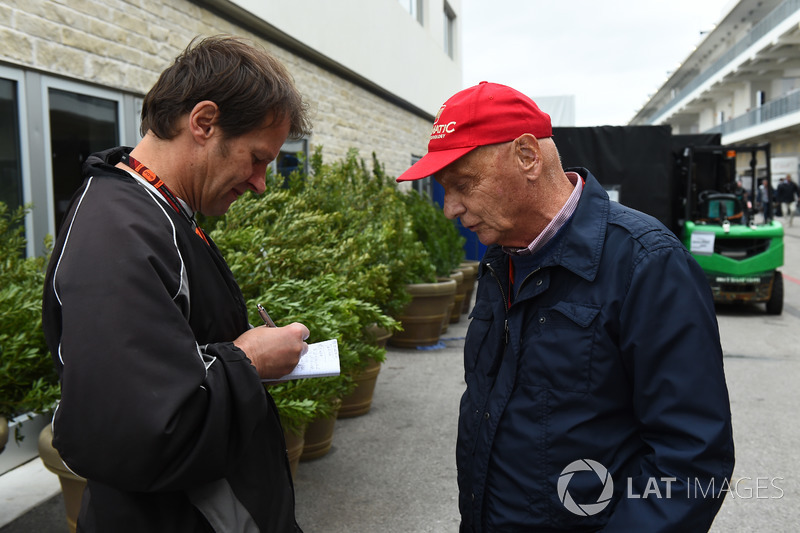 ichael Schmidt, Journalist and Niki Lauda, Mercedes AMG F1 Non-Executive Chairman