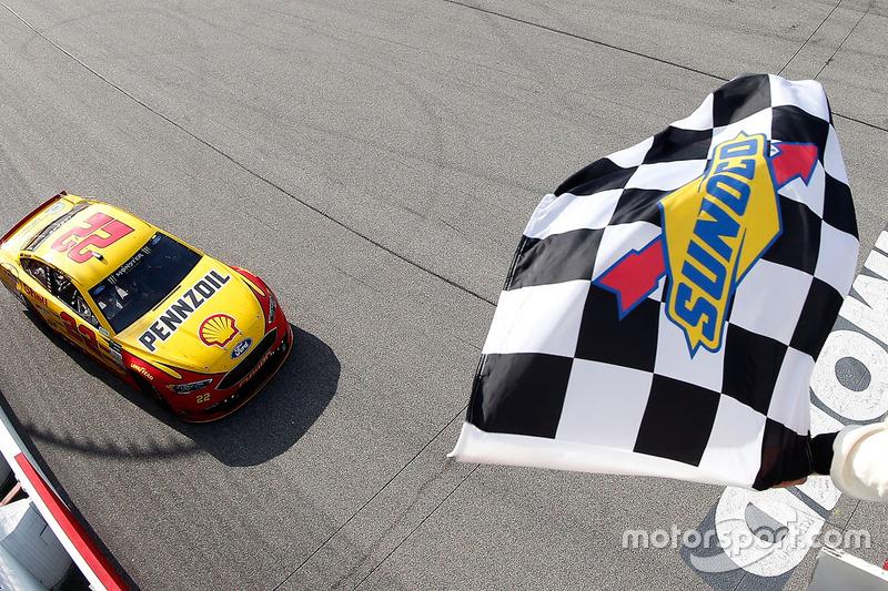 8. Joey Logano, Team Penske Ford takes the checkered flag
