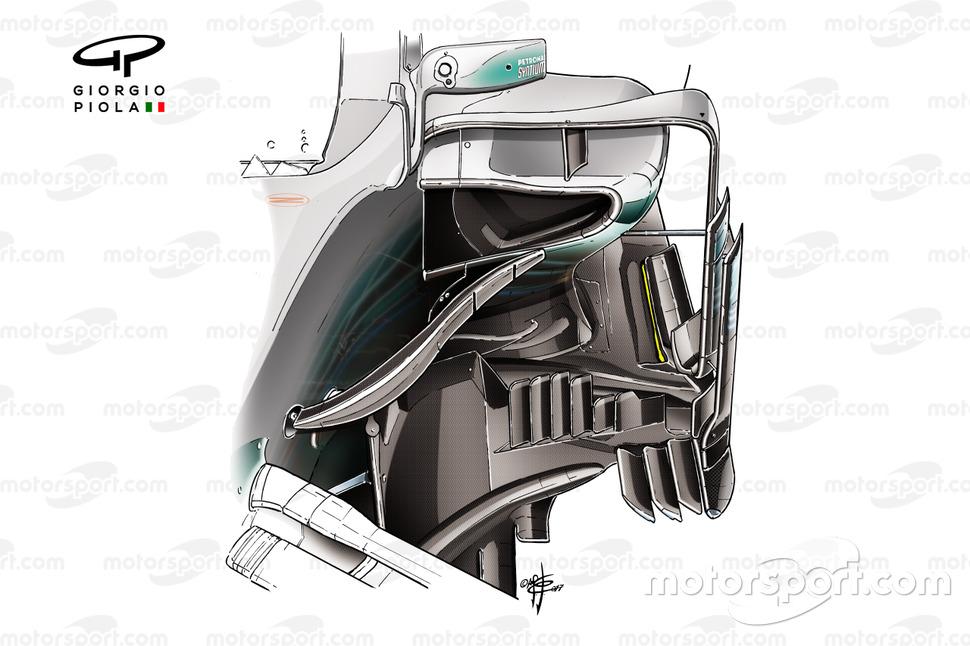 Detalhe do sidepod da Mercedes AMG F1 W08
