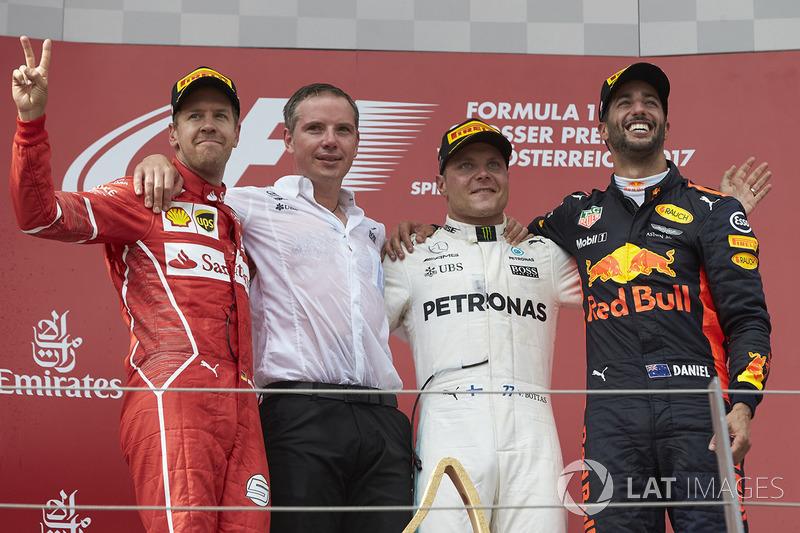 Себастьян Феттель, Ferrari, Валттері Боттас, Mercedes AMG F1, Даніель Ріккардо, Red Bull Racing