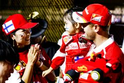 Sebastian Vettel, Ferrari, meets a fan