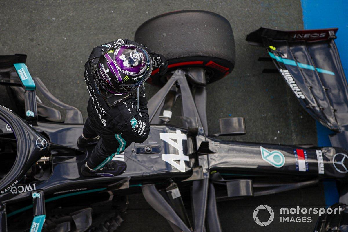 Ganador Lewis Hamilton, Mercedes F1 W11 en Parc Ferme