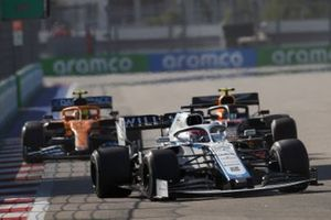 George Russell, Williams FW43, Alex Albon, Red Bull Racing RB16, Lando Norris, McLaren MCL35