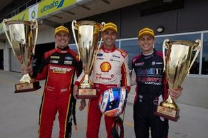 Race winner Fabian Coulthard, DJR Team Penske, second place Jack Le Brocq, Tickford Racing Ford, third place Bryce Fullwood, Brad Jones Racing