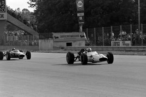 John Surtees, Honda RA300, leads Jim Clark, Lotus 49 Ford