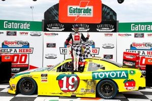 Brandon Jones, Joe Gibbs Racing, Toyota Supra 03 Dash Championship celebrates in victory lane