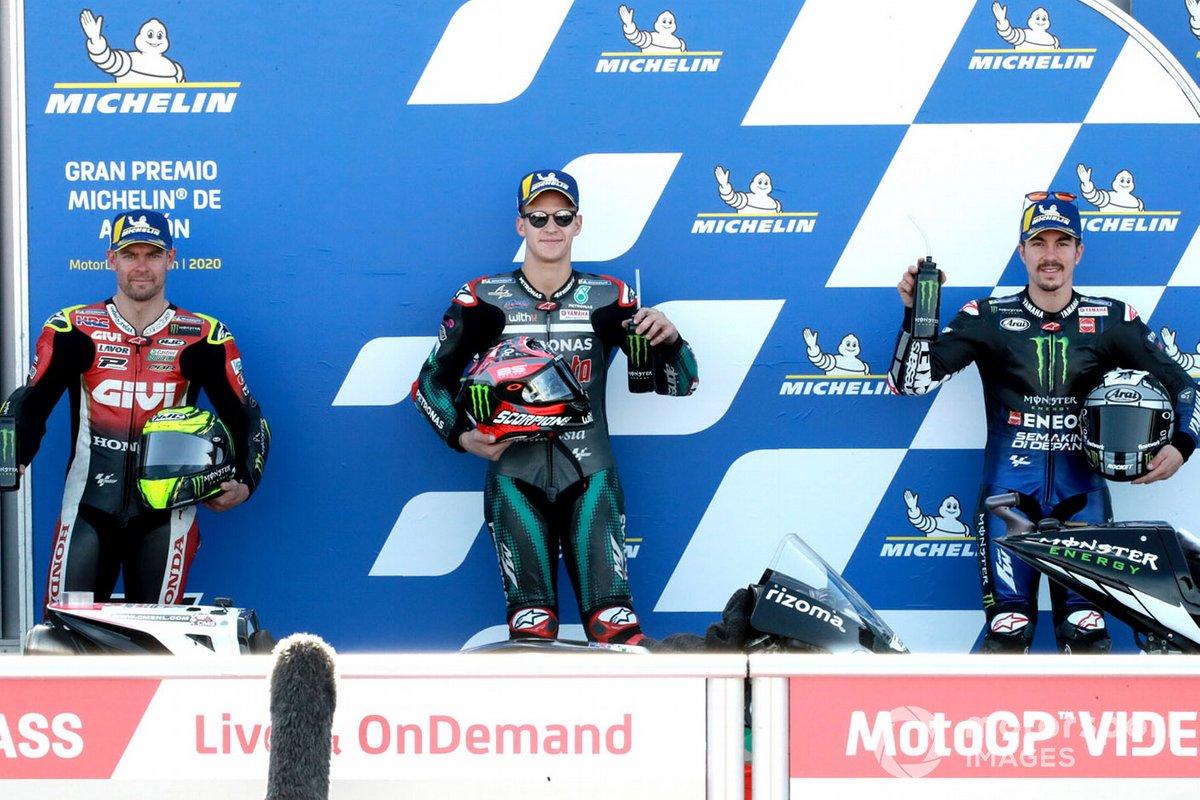 Ganador de la pole Fabio Quartararo, Petronas Yamaha SRT , segundo Maverick Viñales, Yamaha Factory Racing, tercero Cal Crutchlow, Team LCR Honda