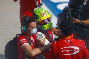 Race Winner Mick Schumacher, Prema Racing celebrates in Parc Ferme with his team
