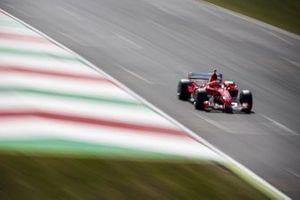 Mick Schumacher in his fathers championship winning Ferrari F2004