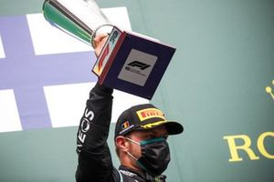 Valtteri Bottas, Mercedes-AMG F1 celebrates on the podium with the trophy