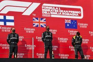 Valtteri Bottas, Mercedes-AMG F1, Race Winner Lewis Hamilton, Mercedes-AMG F1 and Daniel Ricciardo, Renault F1 on the podium