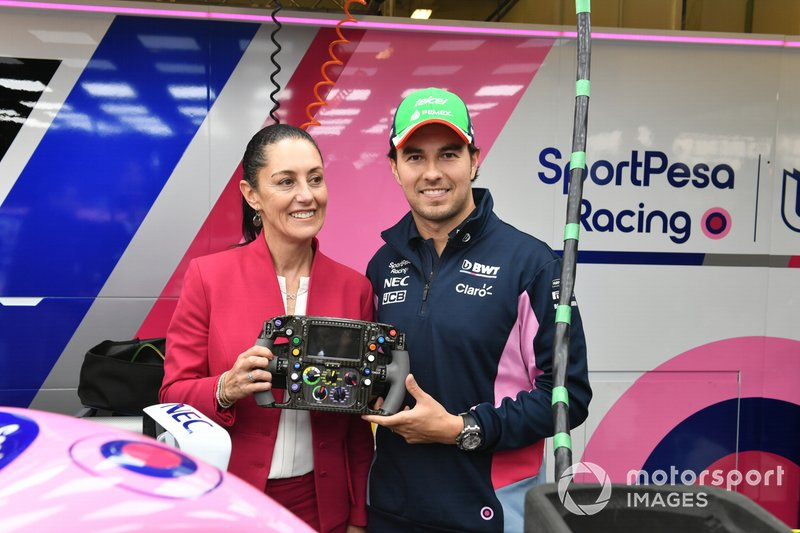 Sergio Perez, Racing Point et Claudia Sheinbaum, maire de Mexico